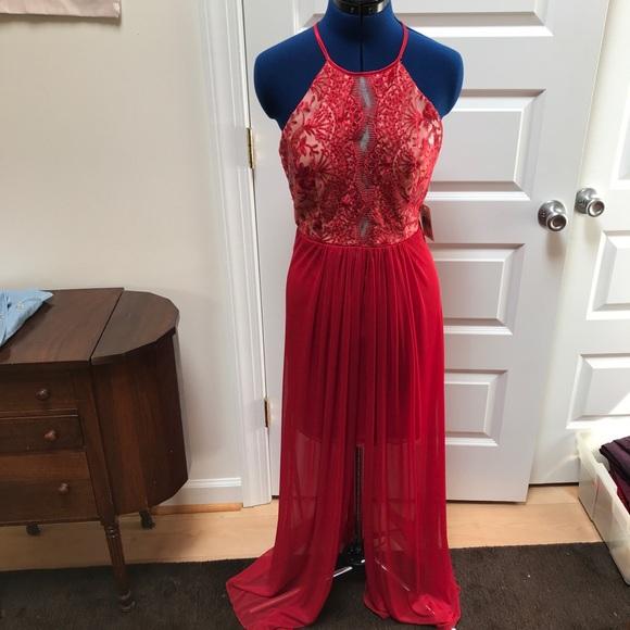 Macys Sell: New Macys Red Lace Prom Formal Long Dress